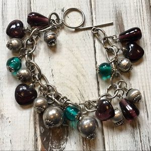 Jewelry - Purple and teal art glass charm bracelet in silver